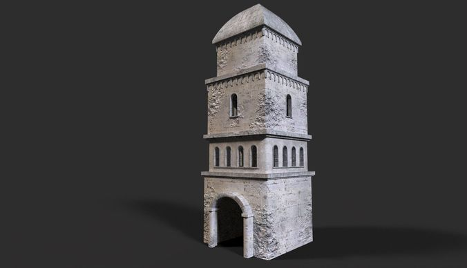 medieval ruin 3d model low-poly obj 3ds fbx dae mtl 1