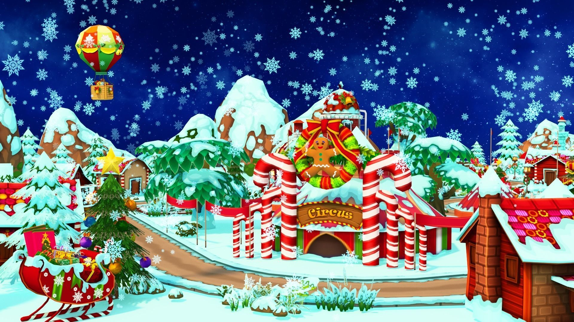 3D asset animated Cartoon Christmas Farm | CGTrader