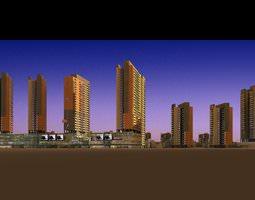 multiple designed buildings 3d model