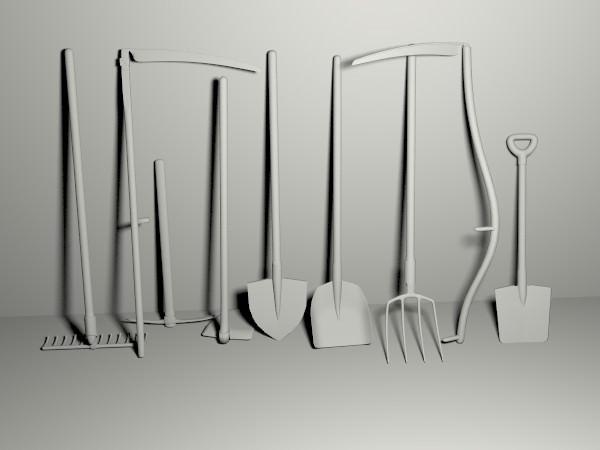 Garden tools pack 3d model obj blend mtl for Garden design 3d tools