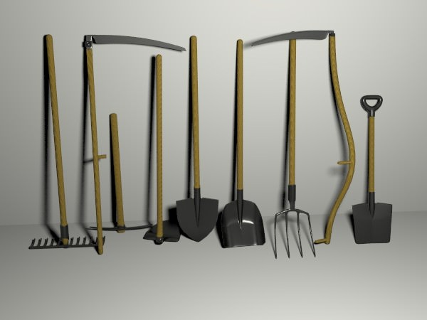 Garden tools pack 3d model obj blend mtl for Industrial garden tools