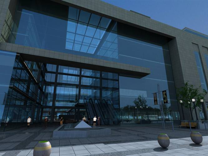 Commercial exterior with roof top exterior 3d model max 3ds for Exterior 3d model