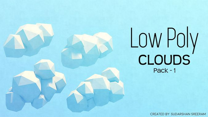 low poly clouds - pack 1 3d model low-poly fbx blend dae 1
