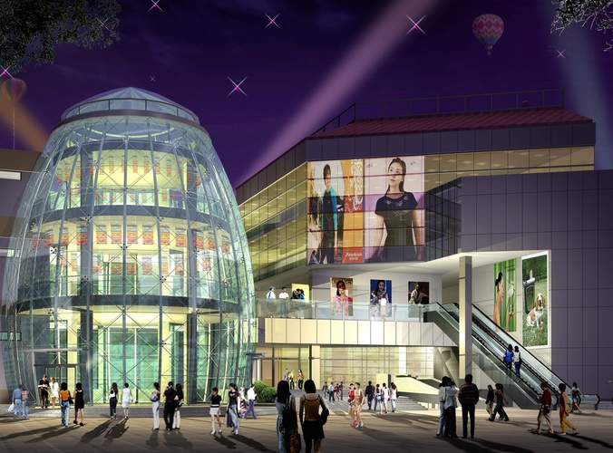 3d grand mall with glass exterior cgtrader for Shopping mall exterior design