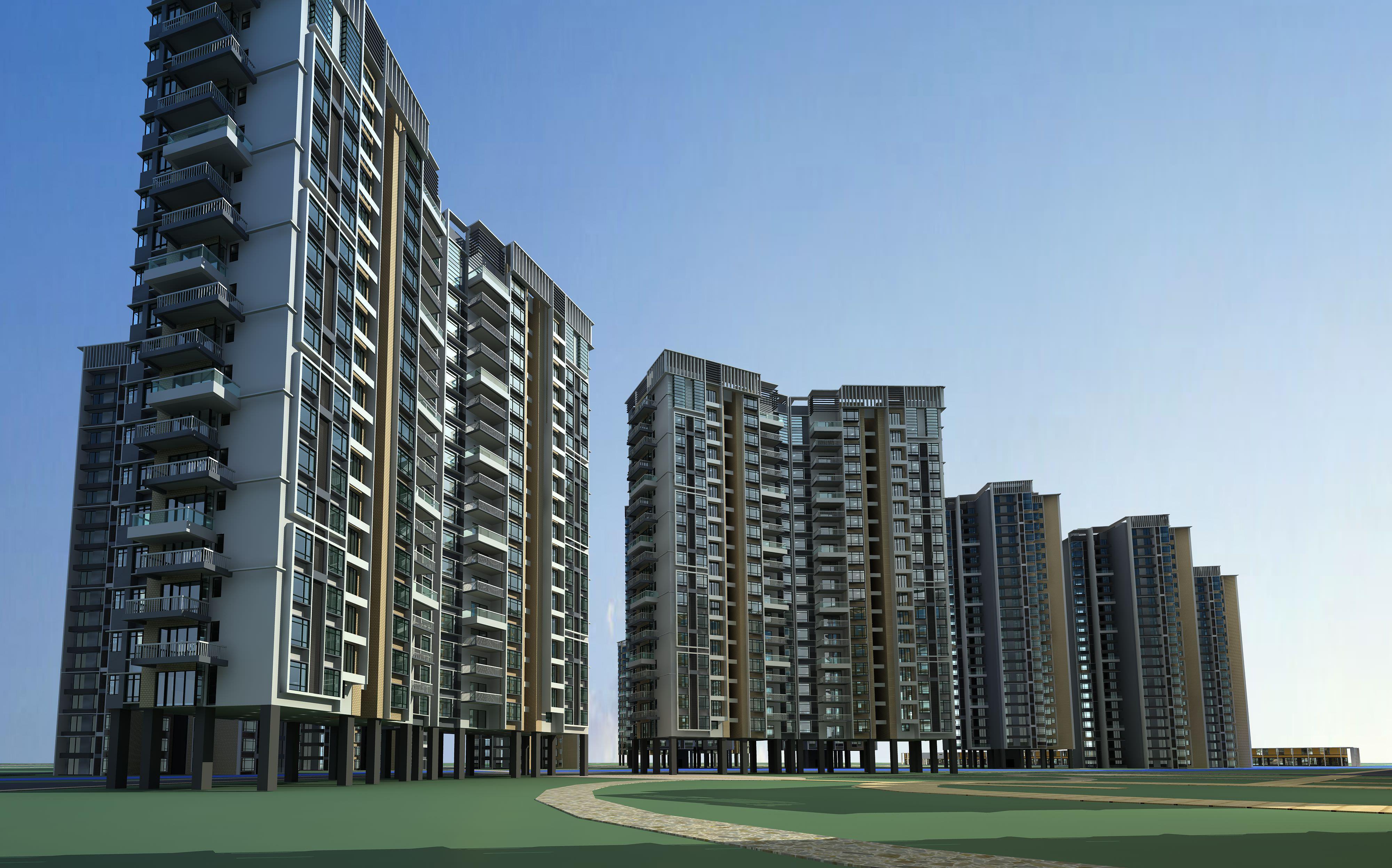 Multi Storey Apartment Buildings 3d Model Max 3ds 1 ...