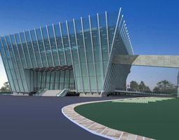 Office Building with Glass Exterior 3D model