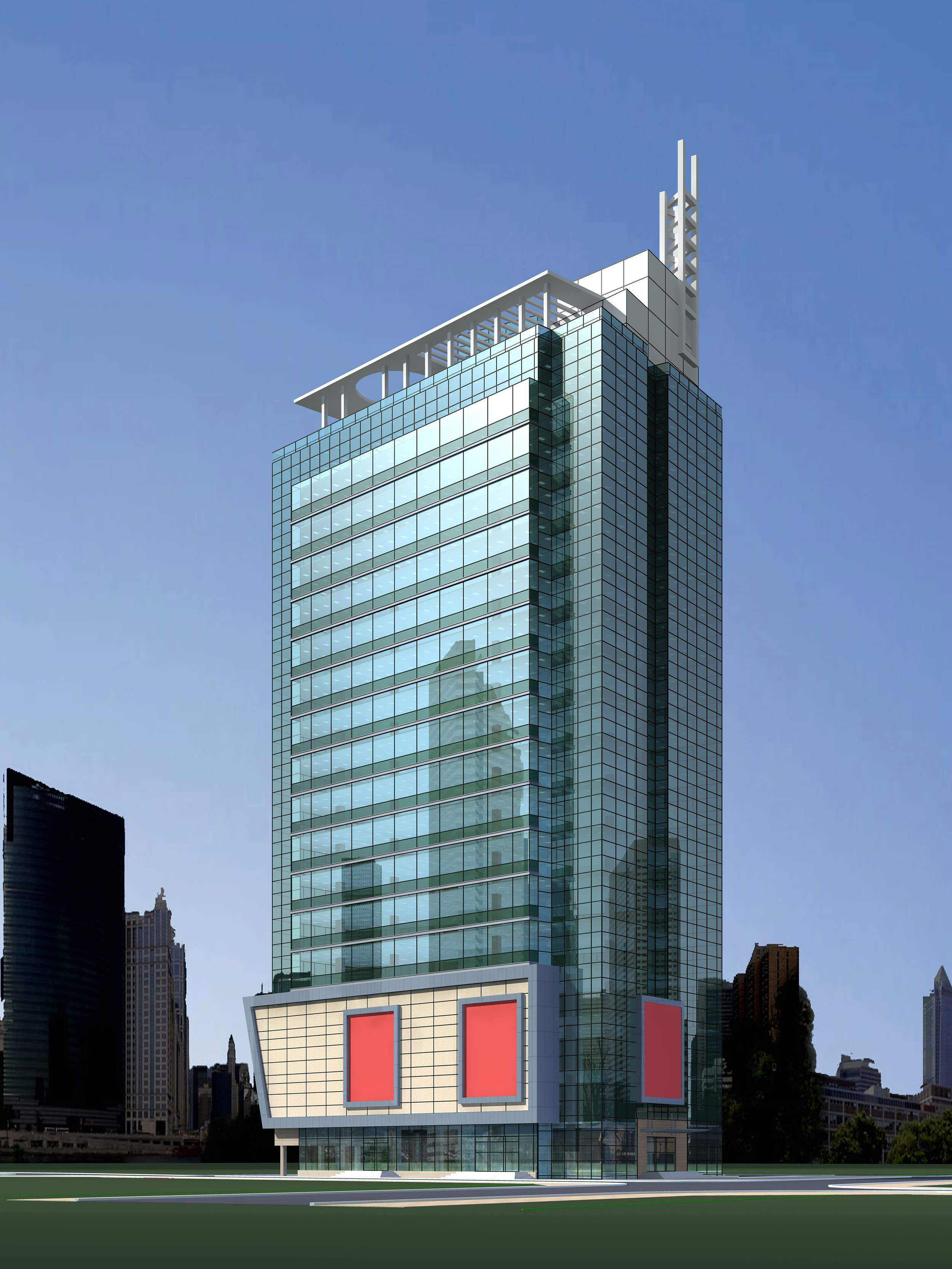 High Rise Glass Building for Commercial Use 3D model MAX 3DS