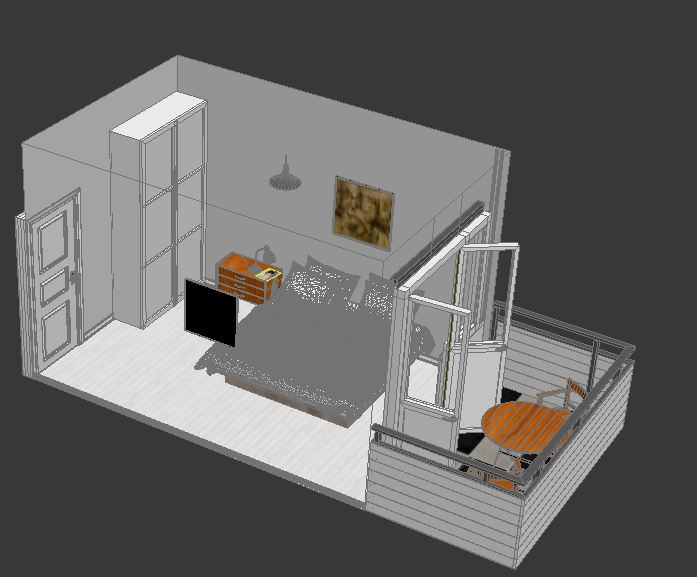 Bed room 3d model max for Unity 3d room design