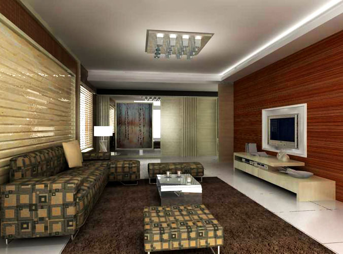 Living Room With Designer Sofa 3d Model Max