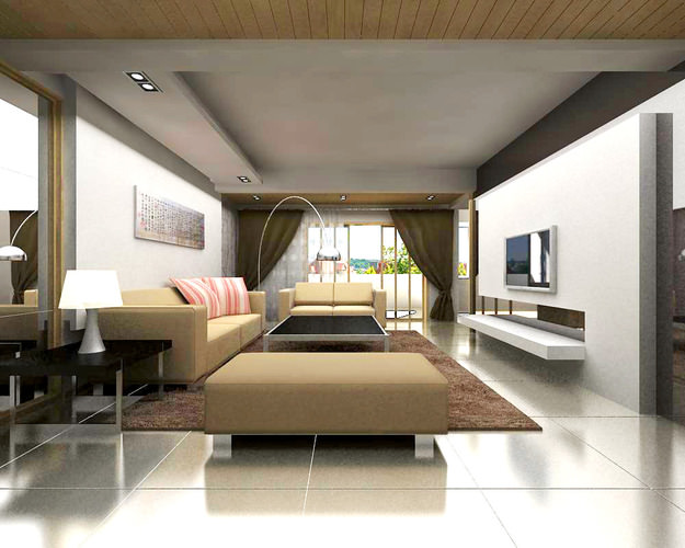 Living space with posh sofas 3d model cgtrader - Sofas small spaces model ...