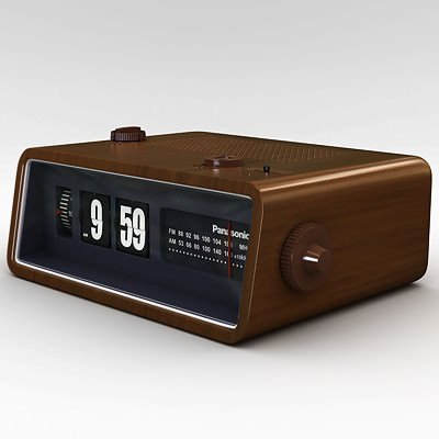 retro style radio alarm flip clock 3d model max obj 3ds. Black Bedroom Furniture Sets. Home Design Ideas