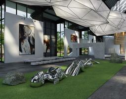 artistic exhibition hall 3d model
