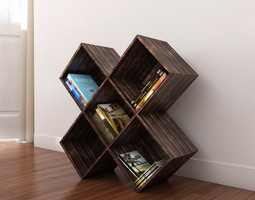 dark wood cd-dvd rack 3d model max obj fbx