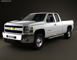3d model chevrolet silverado hd extendedcab standardbed 2011