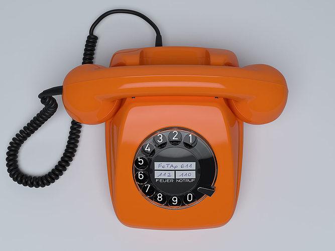 retro telephone fetap 611 3d model max obj mtl 1