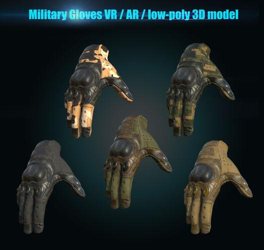 military gloves 3d model low-poly obj mtl fbx tga 1