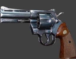 game-ready revolver 3d model
