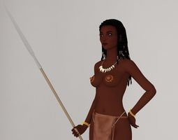 3D Tribal girl Ashuna pose 01