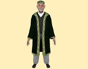 Asian Nomad Old Man Rig 3D asset