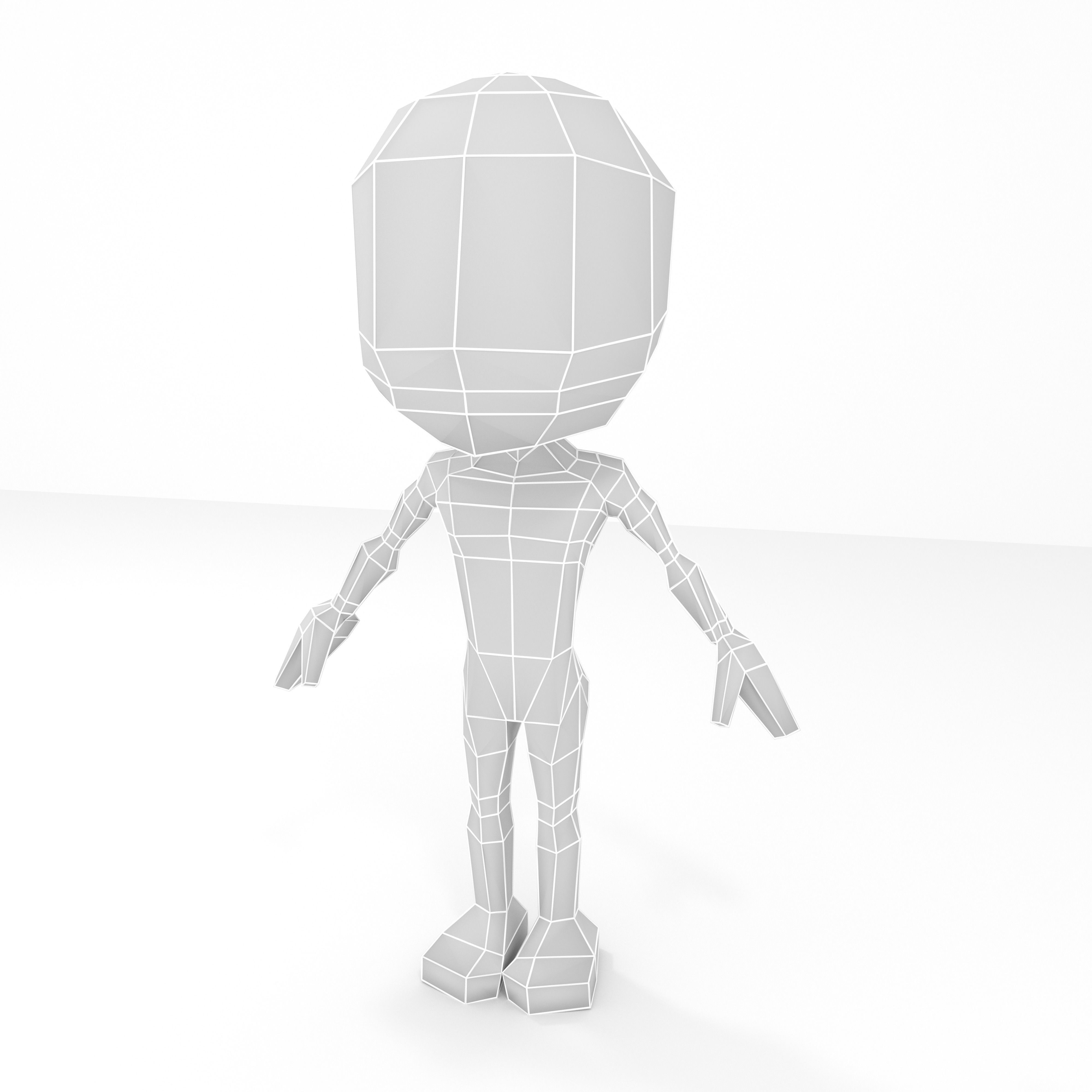 Male cartoon low-poly character base mesh
