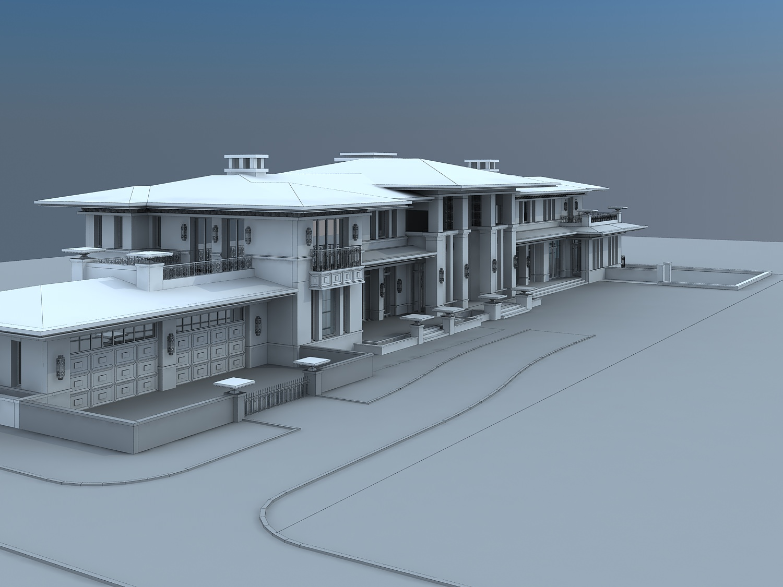 Villa hotel exterior 3d model max for Exterior 3d model