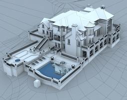 3D model The villa has a swimming pool