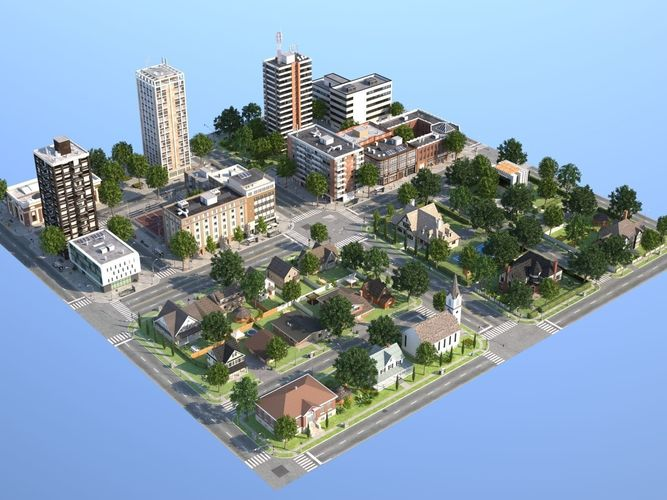 town with suburb 3d model max obj mtl 3ds fbx c4d lwo lw lws 1