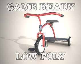 3D asset Game Ready Tricycle with controller