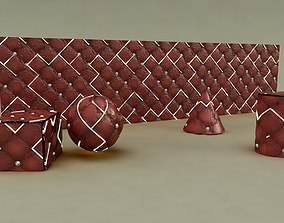 3D model Leather Tufted LED vray material