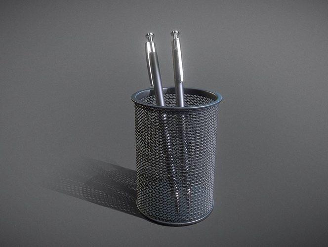 wire mesh scissor pen pencil holder 3d model obj mtl 3ds fbx stl blend dae 1
