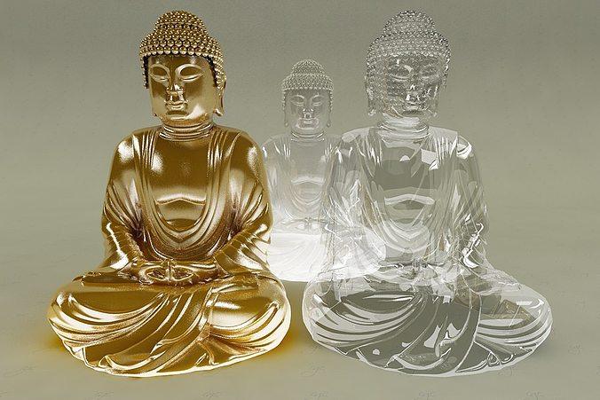 gold glass ice buddha 3d model max 1