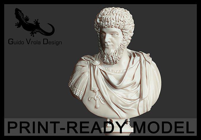 printable lucius verus emperor bust 3d model obj stl 1