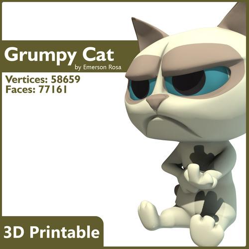 3d printable - cartoon grumpy cat 3d model max obj mtl fbx stl 1
