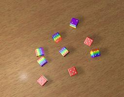 Rainbow 3D Dices Model animated