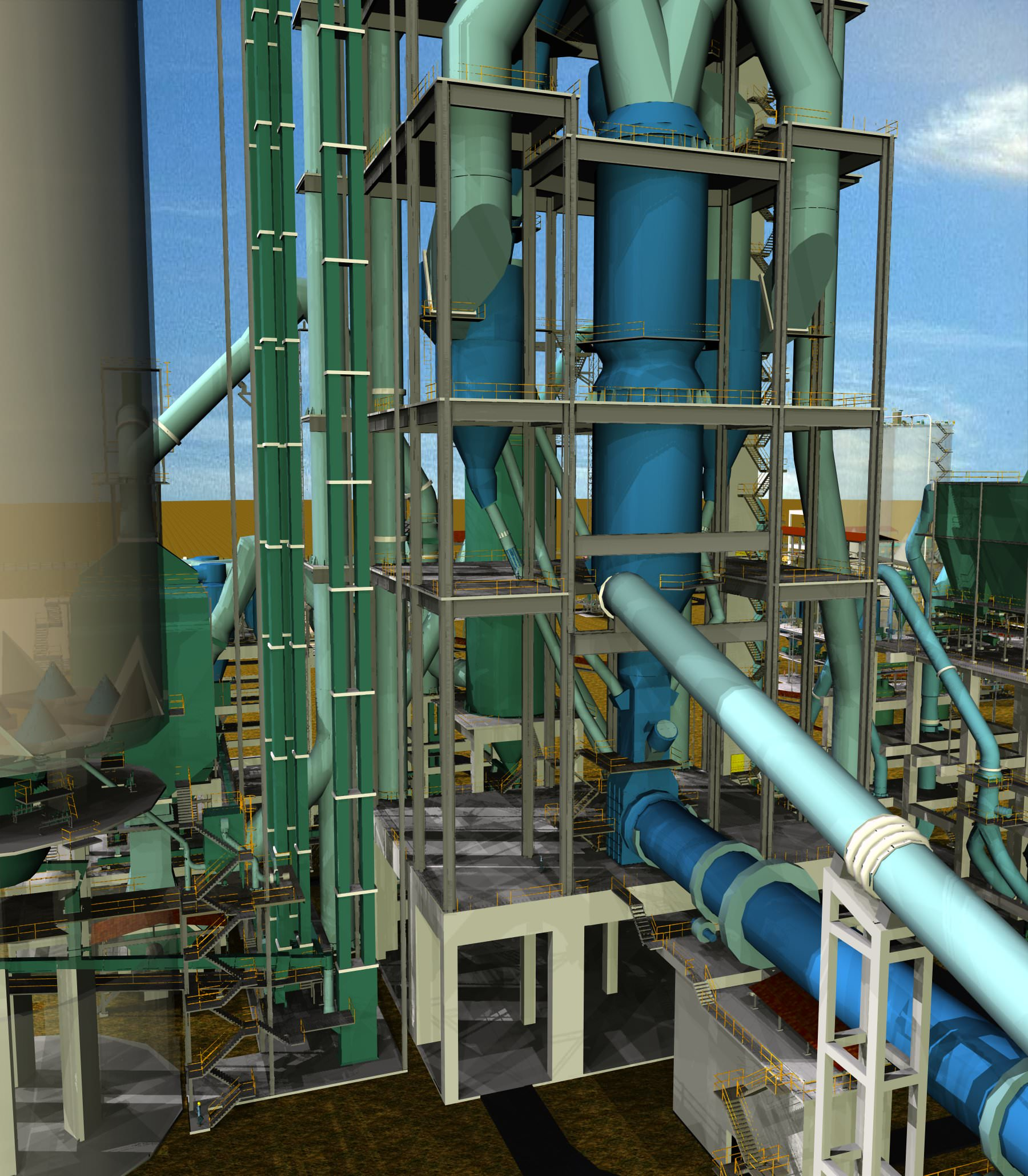 Cyclone preheater cement plant free 3d model dwg for Plante 3d dwg