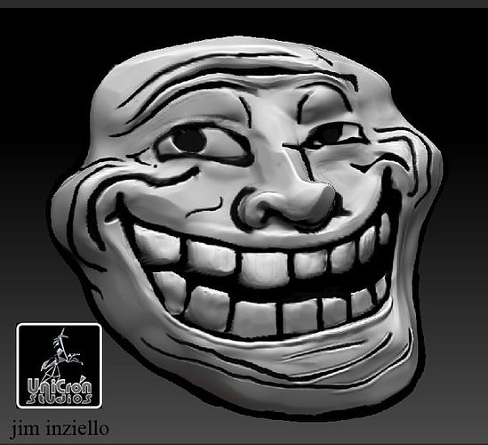 troll face and posing body 3d model obj mtl stl 1