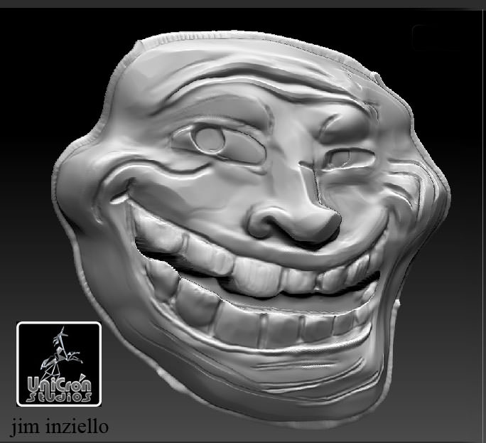 troll face and posing body 3d model obj stl 4
