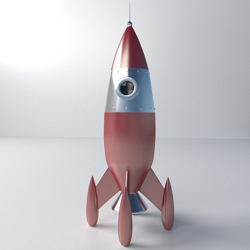 retro rocket 3d model 3ds fbx blend dae 1