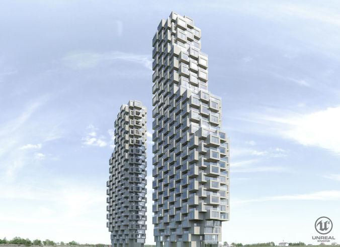 norra tornen 3d model low-poly max obj fbx mtl uasset 1