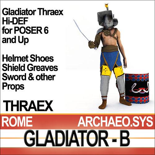 roman gladiator thraex props poser daz 3d model rigged obj mtl 3ds c4d vue pz3 pp2 mat 1