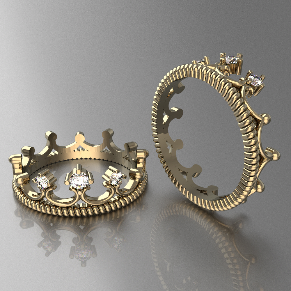 Ring For Womens 9 Crown Litle 3D Model 3D Printable STL