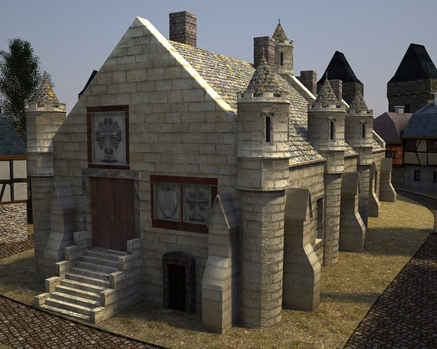 3d Medieval City Hall Cgtrader