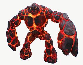 Magma golem RIGGED 3D model
