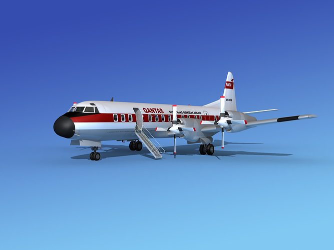 lockheed l-188 electra hp qantas 3d model max obj mtl 3ds lwo lw lws stl 3dm 1
