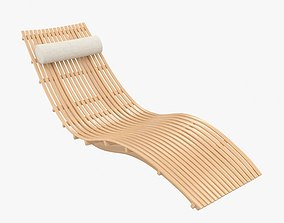 3D Wooden chaise lounge