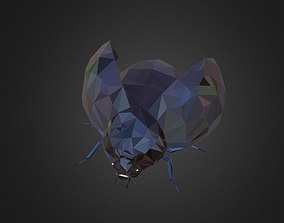 3D asset Bug Ladybug Black Low Polygon Art Insect