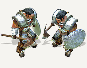 Warrior low poly character 3D asset