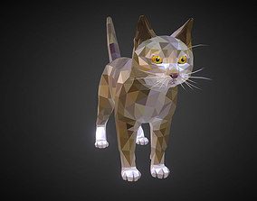 Cat Low Polygon Art Farm Animal 3D asset