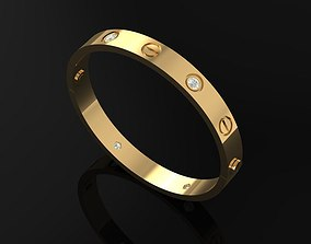 Golden Bracelet With Oval And Diamond 3D printable model