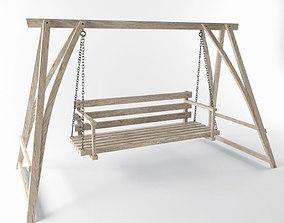 Multiple Seats Wooden Swing 1 3D model